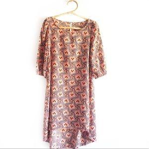 Hello Miss Leaf Print High Low Sheath Dress